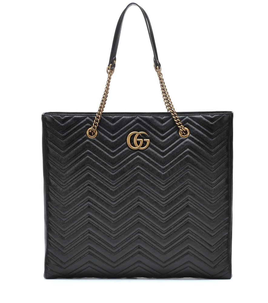Gg Marmont Large Leather Tote, Female