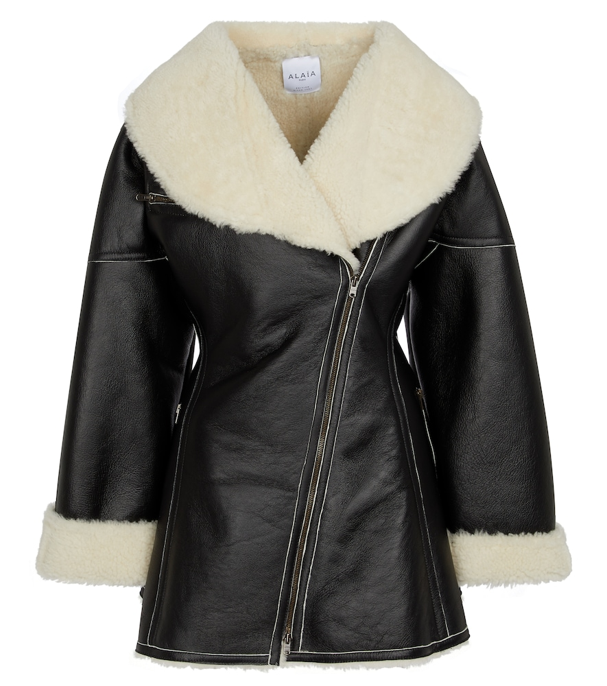 Alaïa Edition 1987 Shearling And Leather Coat In Black