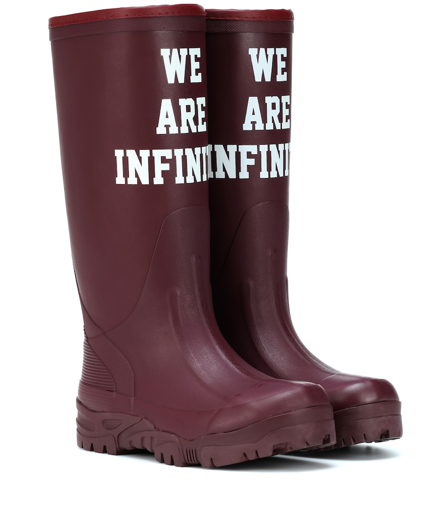 Printed Rubber Boots in Pink