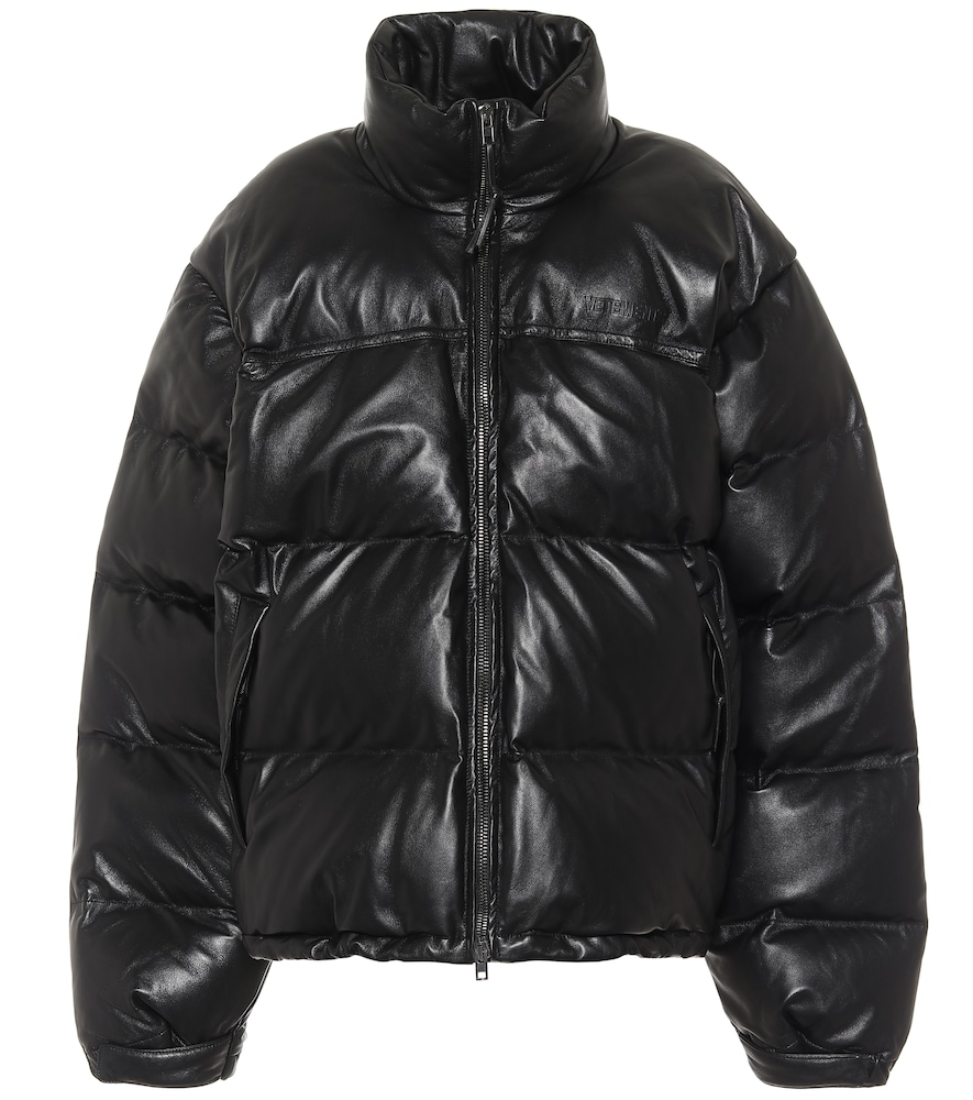 Leather puffer jacket by Vetements