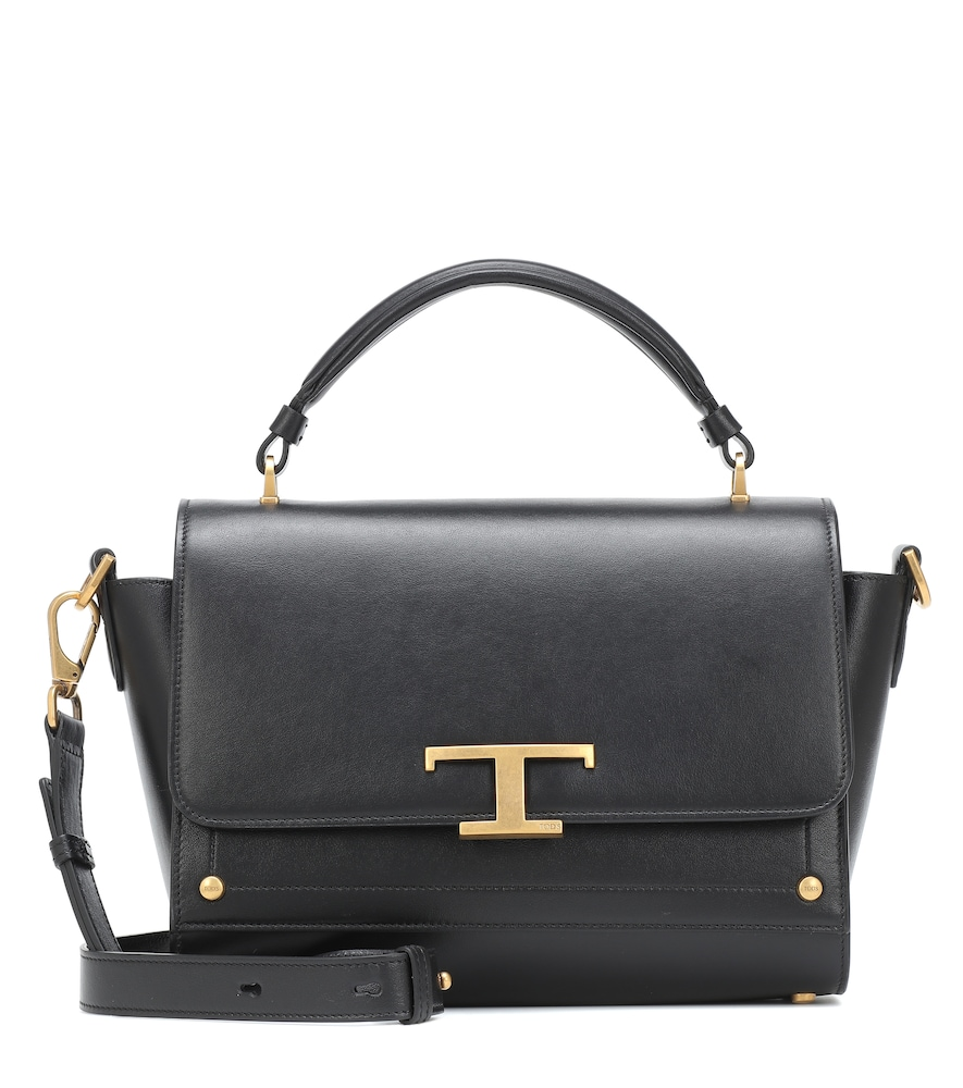 Tod's Timeless T Small Leather Tote In Black