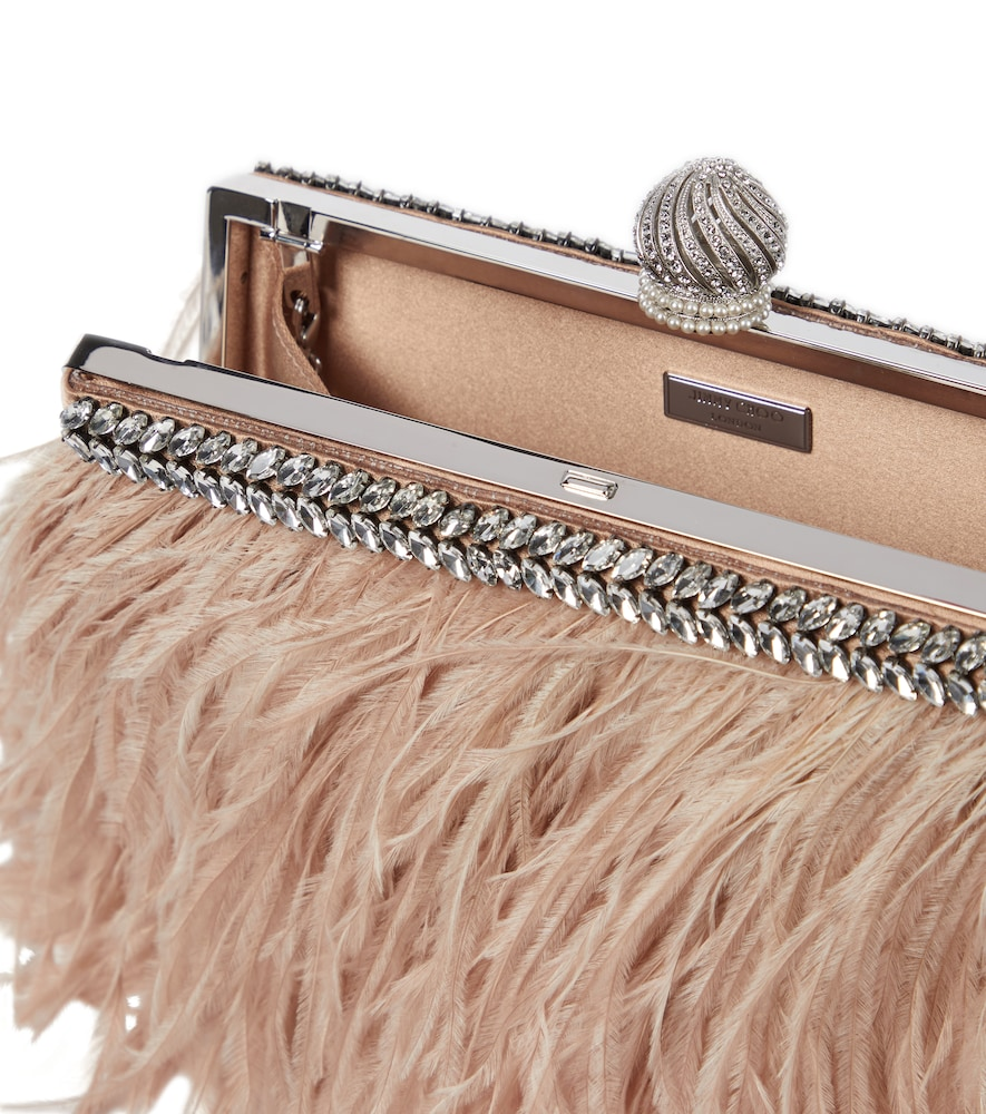JIMMY CHOO Clutches CELESTE FEATHER-TRIMMED SATIN CLUTCH
