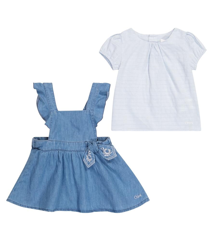 Chloé Dresses BABY DENIM DRESS AND TOP SET
