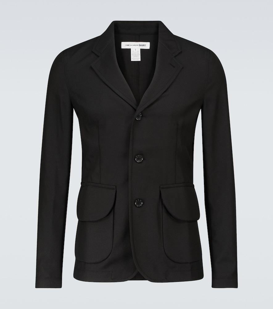 Single-breasted wool-blend blazer