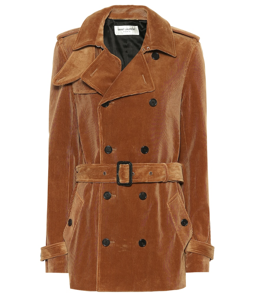 Double-Breasted Cotton-Corduroy Jacket in Tan