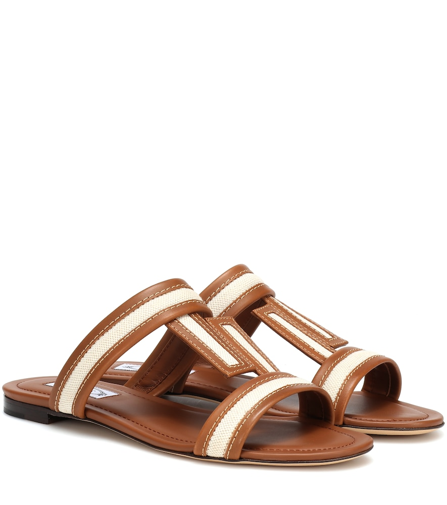 Mixed Canvas And Leather Sandals in Brown from TOD'S
