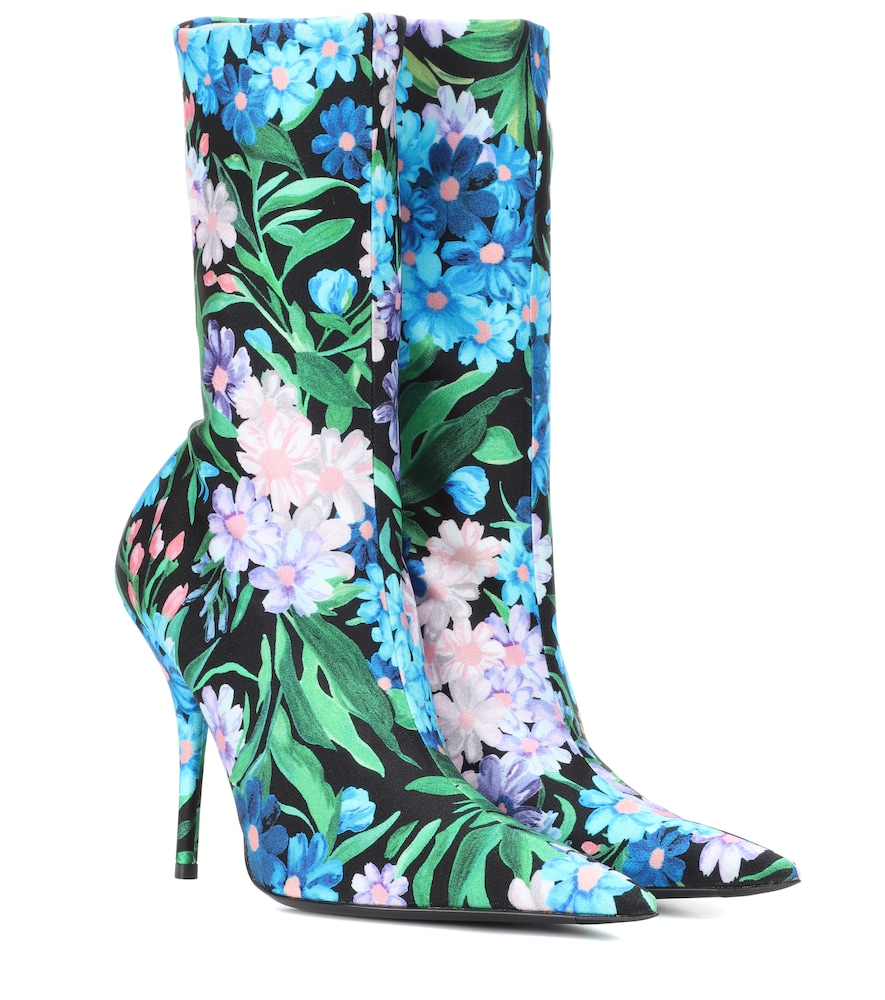Knife Floral-Print Stretch-Jersey Ankle Boots, Multicoloured