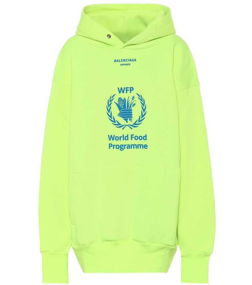 World Food Programme Printed Neon Cotton-Blend Jersey Hoodie in Yellow