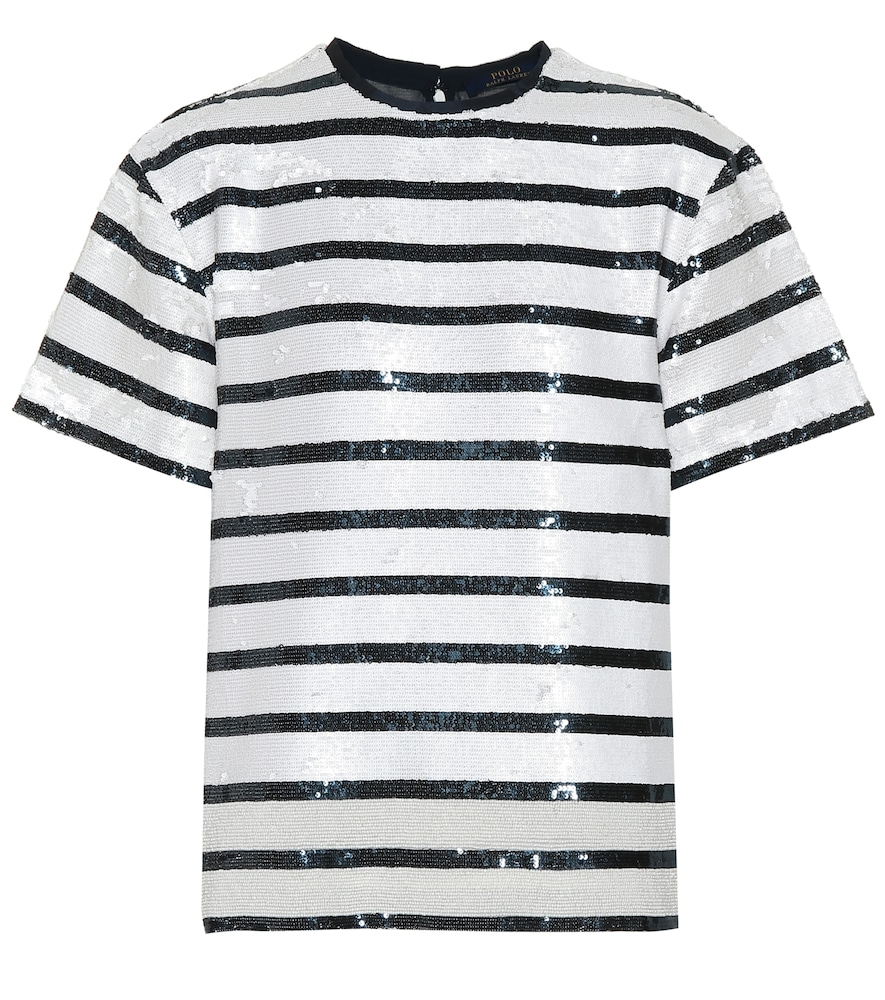 Striped Sequined T-Shirt in White
