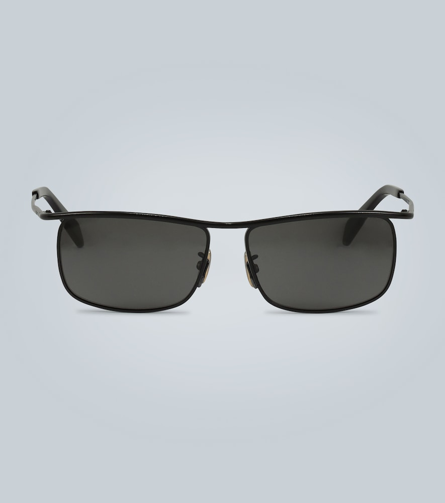 Rectangle-frame metal sunglasses