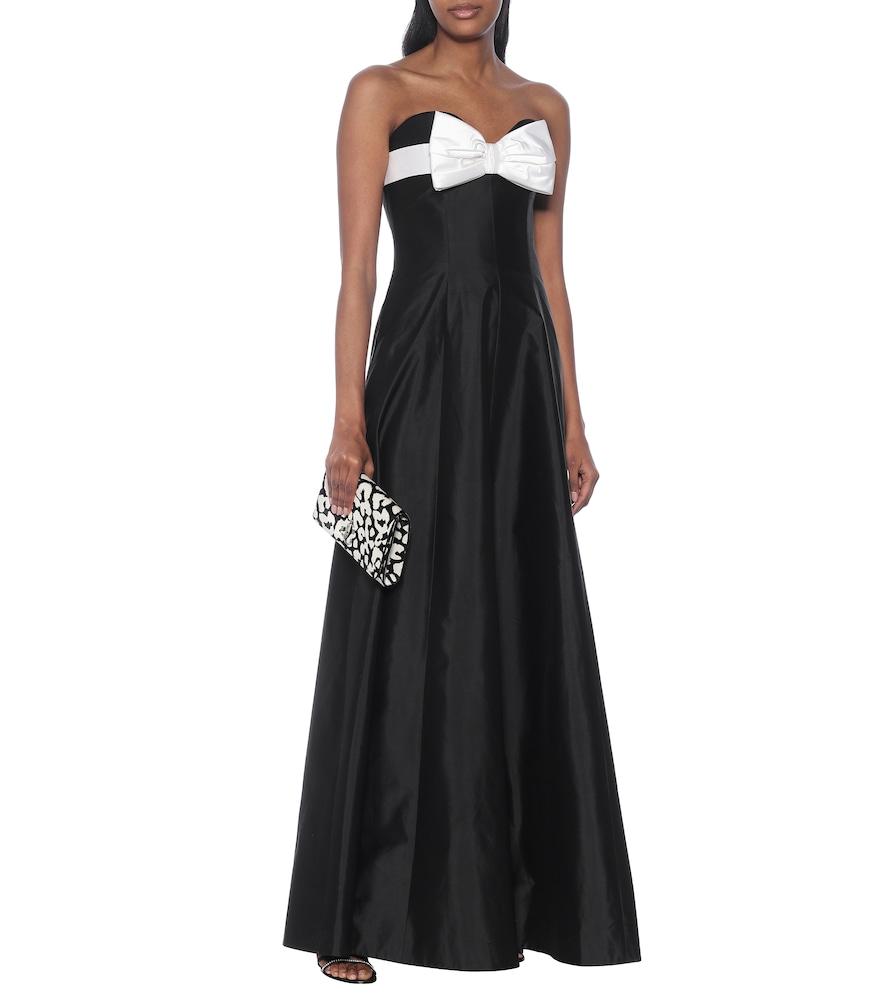 Off-shoulder silk gown by RASARIO