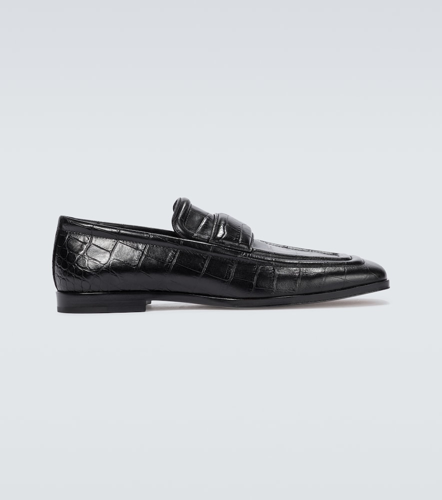 Leather croc-effect loafers