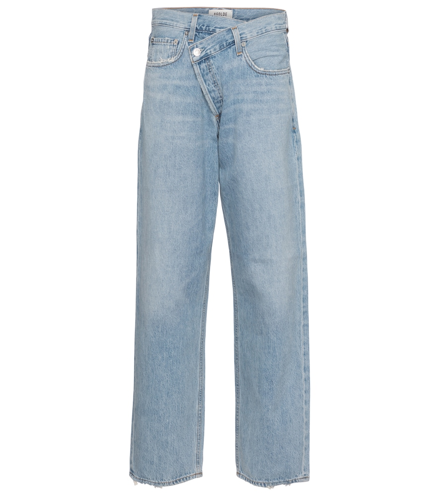 Criss-Cross high-rise straight jeans