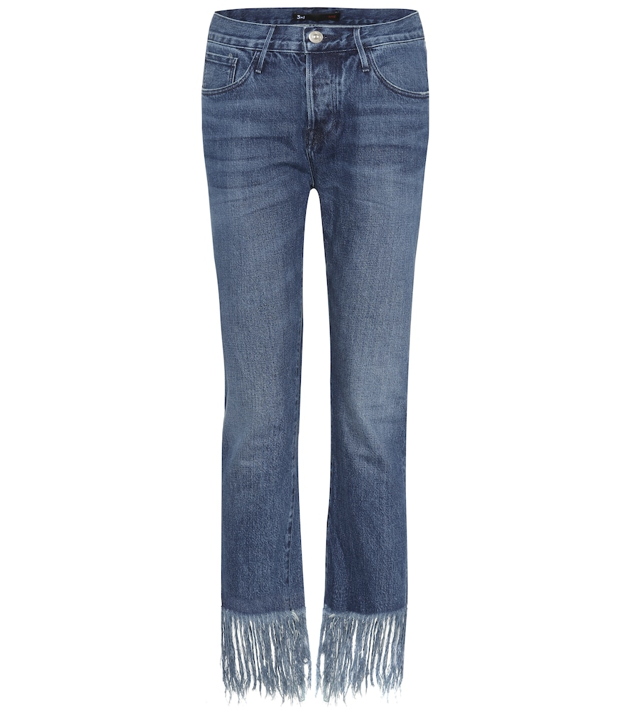 Straight Crop Fringe jeans