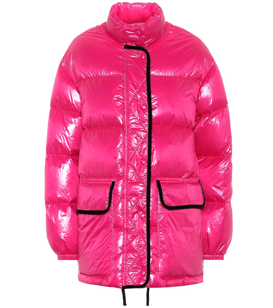Coated Puffer Jacket in Pink