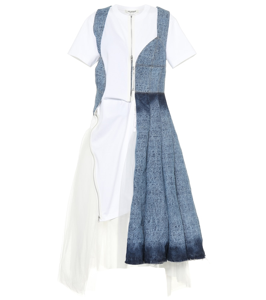 Denim and tulle midi dress