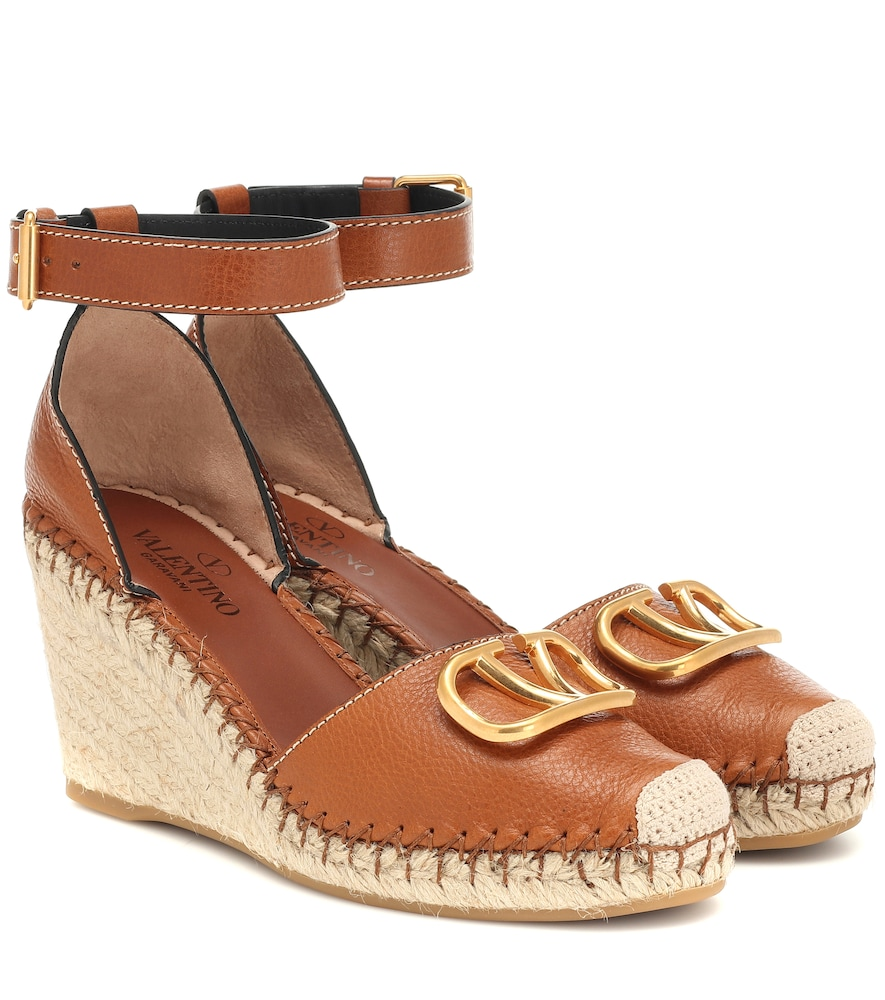 Valentino Vlogo Leather Wedge Espadrilles In Brown