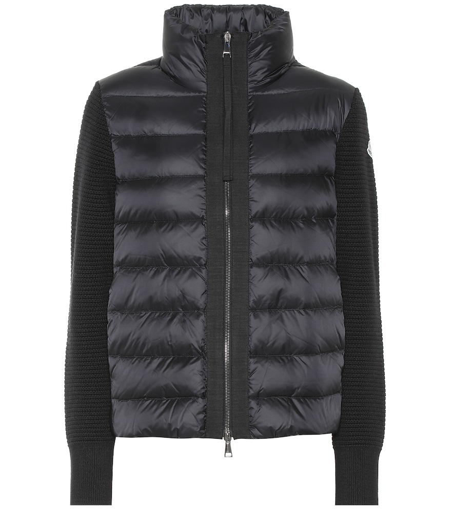 Moncler Wool Knit Cardigan & Nylon Down Jacket In Black