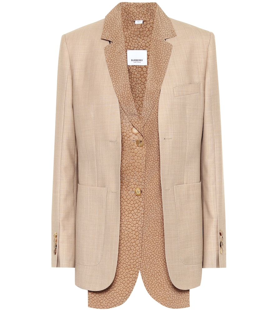 Burberry Wool Blazer In Beige