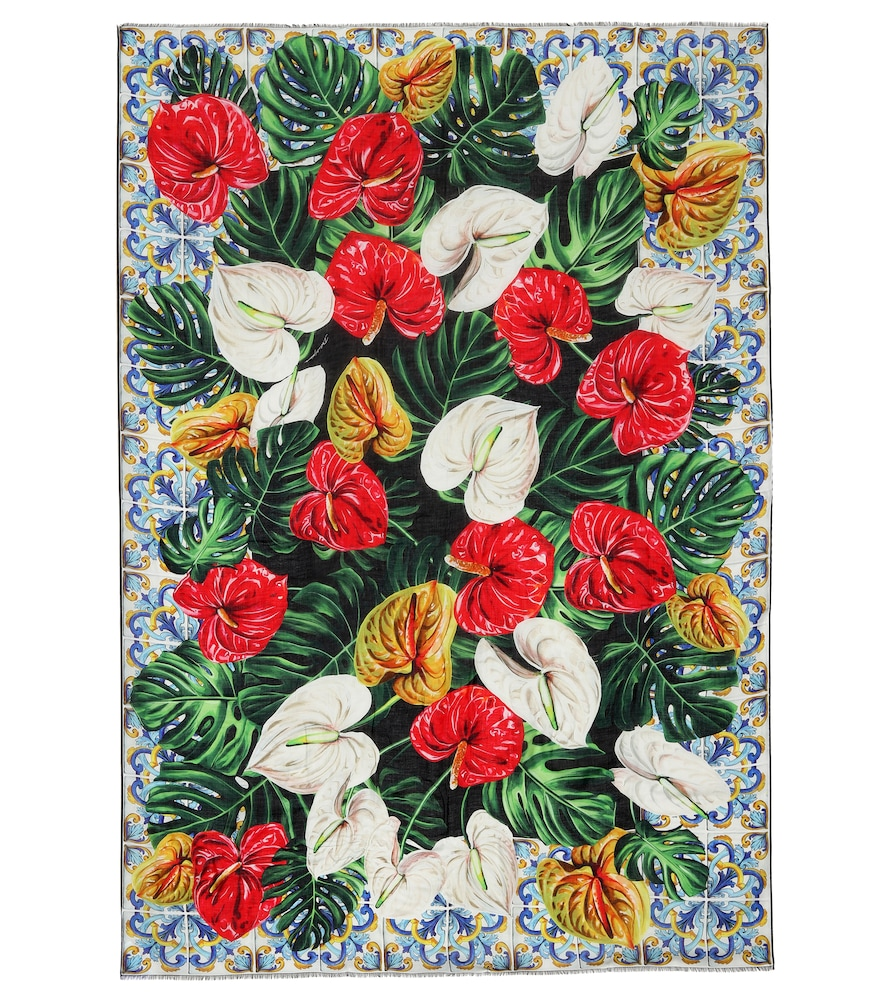 Dolce & Gabbana Floral-printed Scarf In Multicoloured