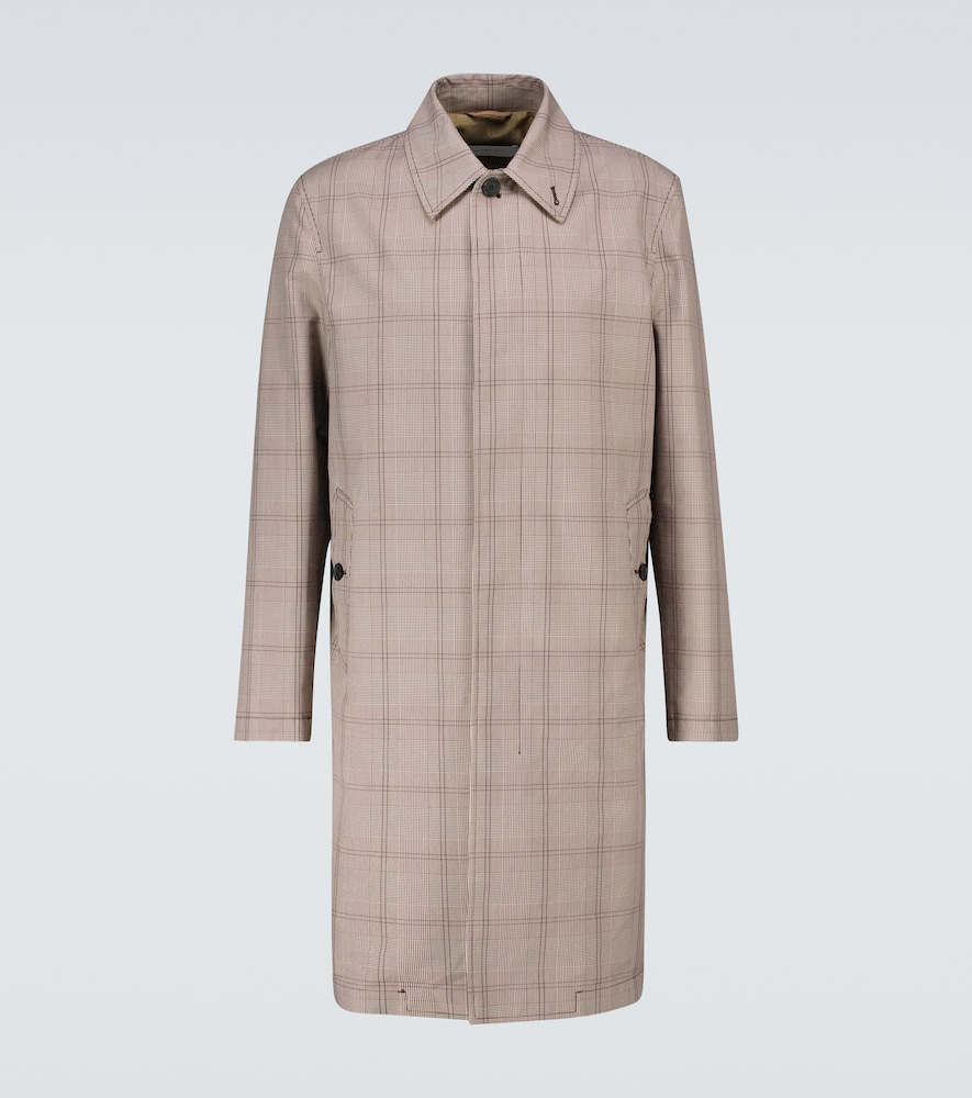 Prince of Wales checked trench coat
