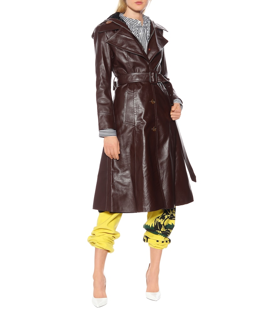 Hooded leather trench coat by Vetements