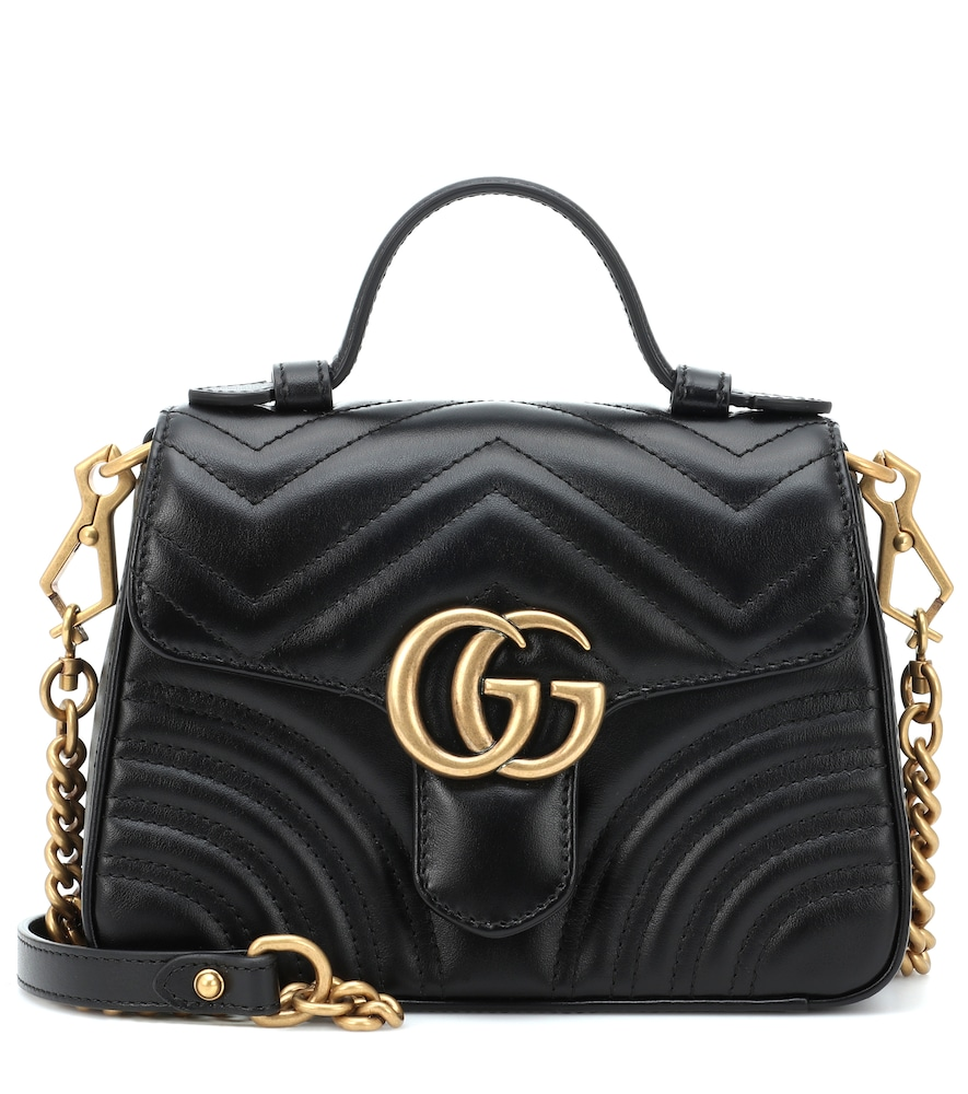 Gucci Gg Marmont Mini Quilted Leather Shoulder Bag In Black