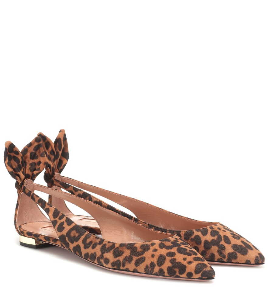 AQUAZZURA | Exclusive To Mytheresa - Deneuve Suede Ballet Flats | Goxip