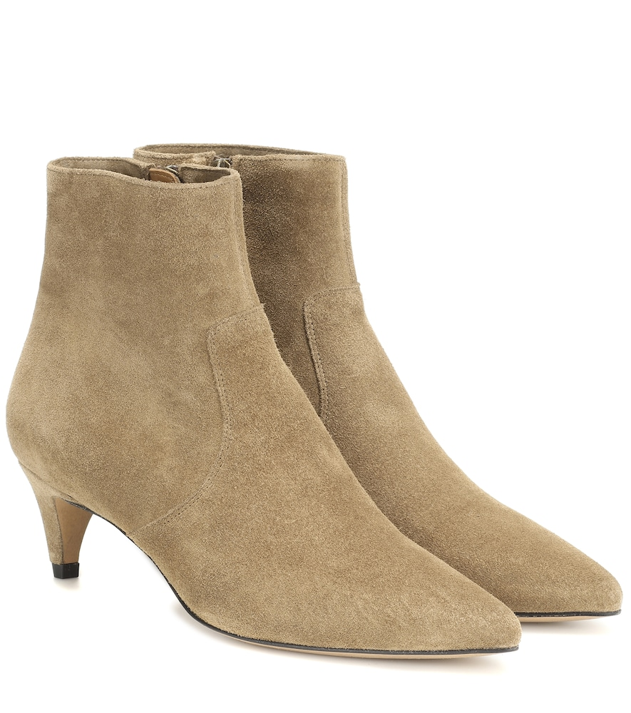 Isabel Marant Derst Point Toe Suede Ankle Boots In Beige