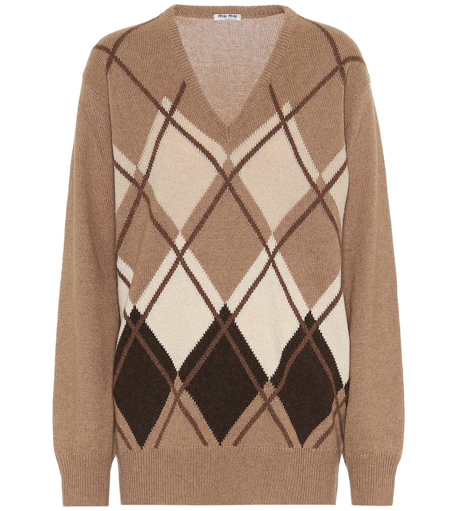 Argyle camel-wool sweater