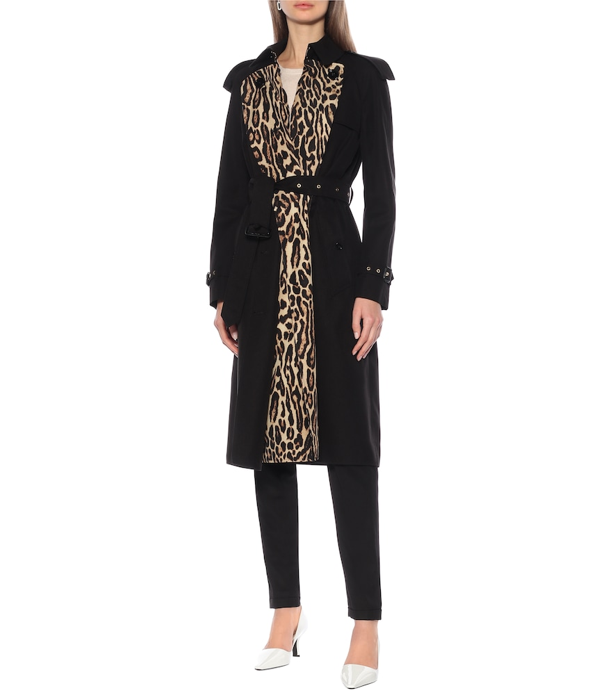 Leopard-print gabardine trench coat by Burberry