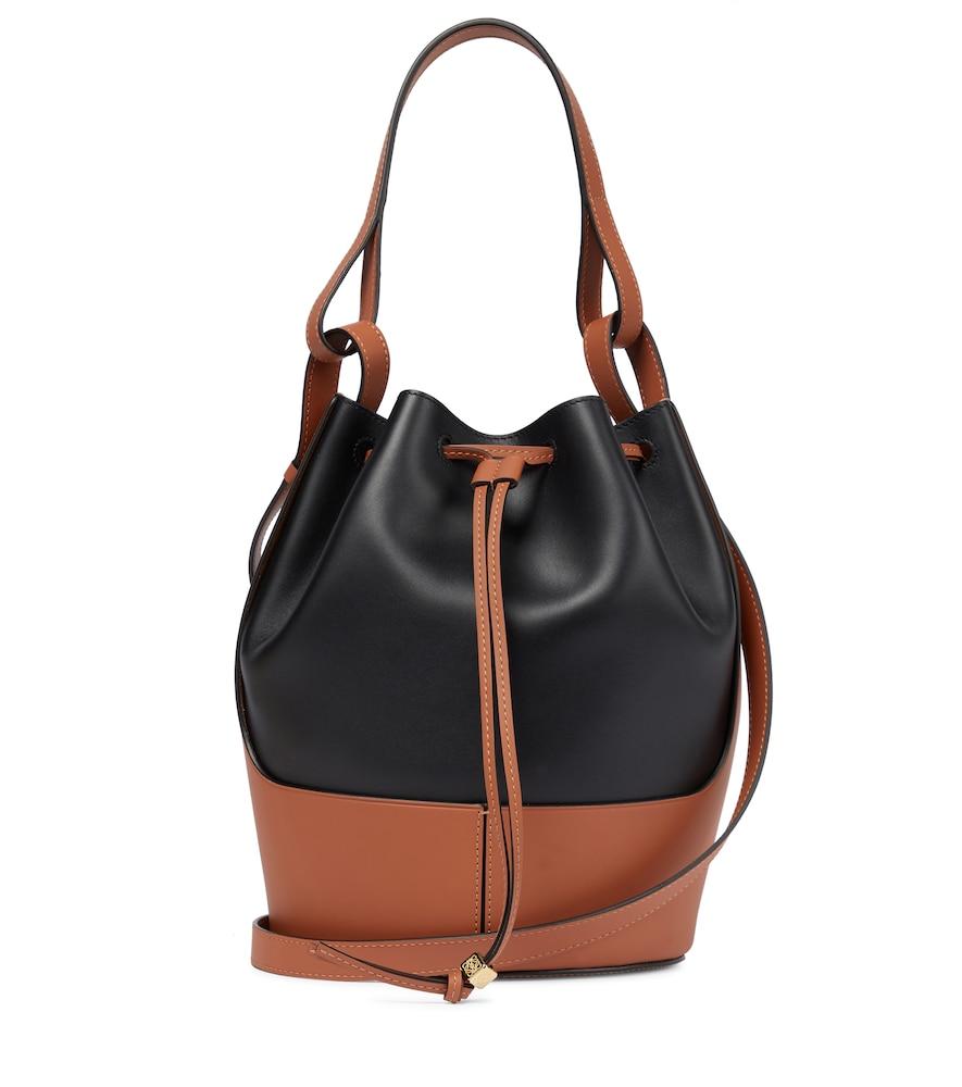 Loewe Balloon Medium Leather Shoulder Bag In Black