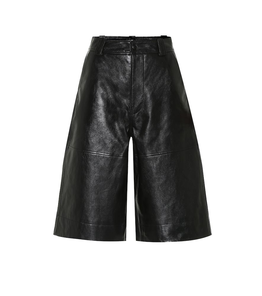 Ganni Leather Bermuda Shorts In Black