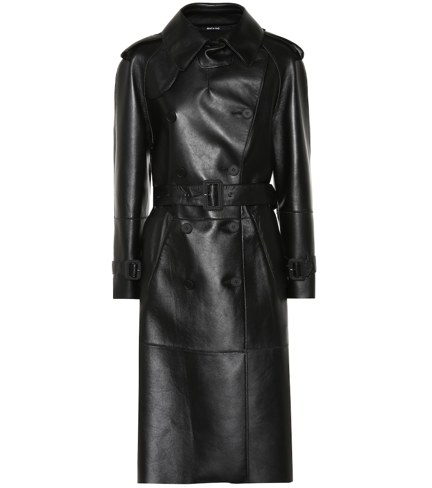 Faux Leather Trench Coat in Black