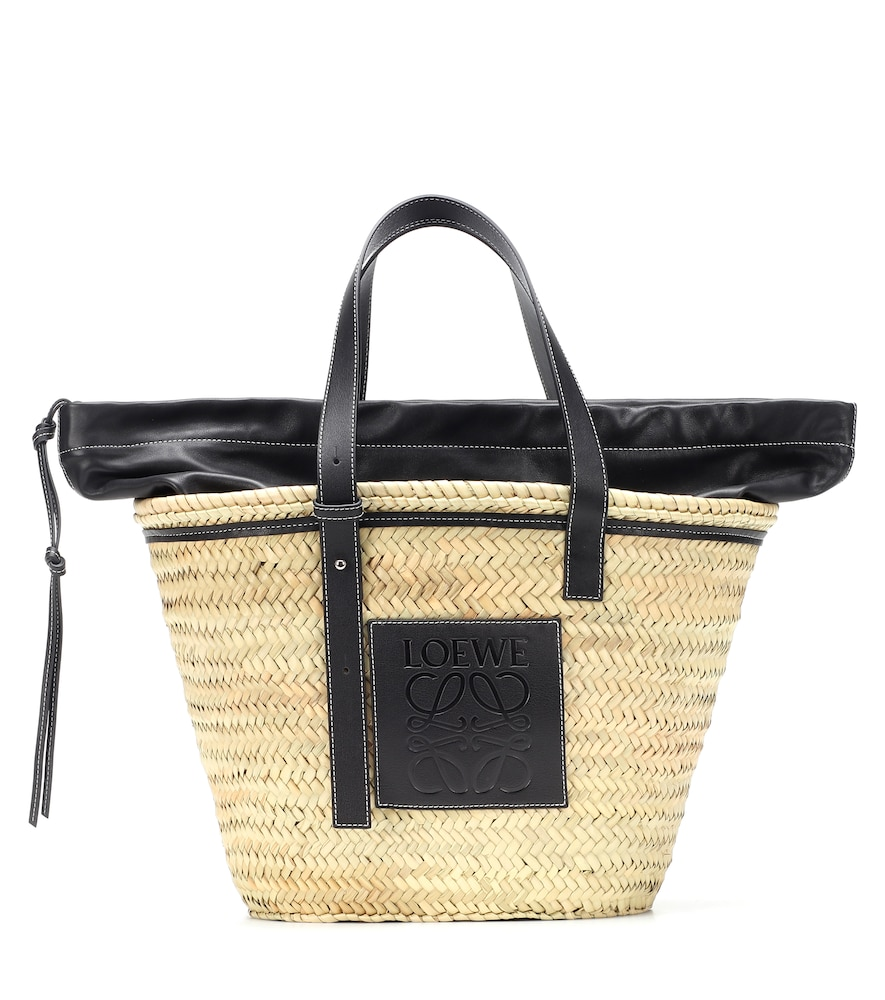 LOEWE | Leather-Trimmed Woven Basket Tote | Goxip