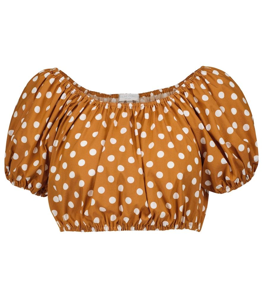 Polka-dot cotton-blend crop top