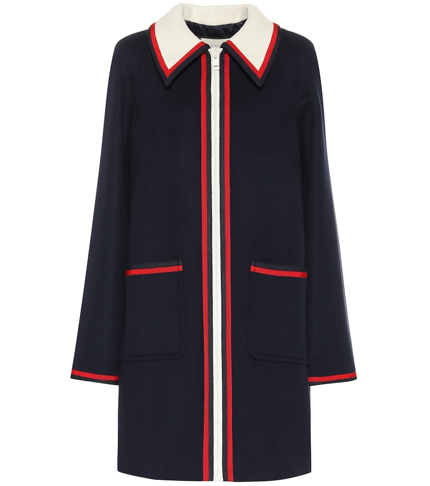 Grosgrain-Trimmed Wool Coat in Blue