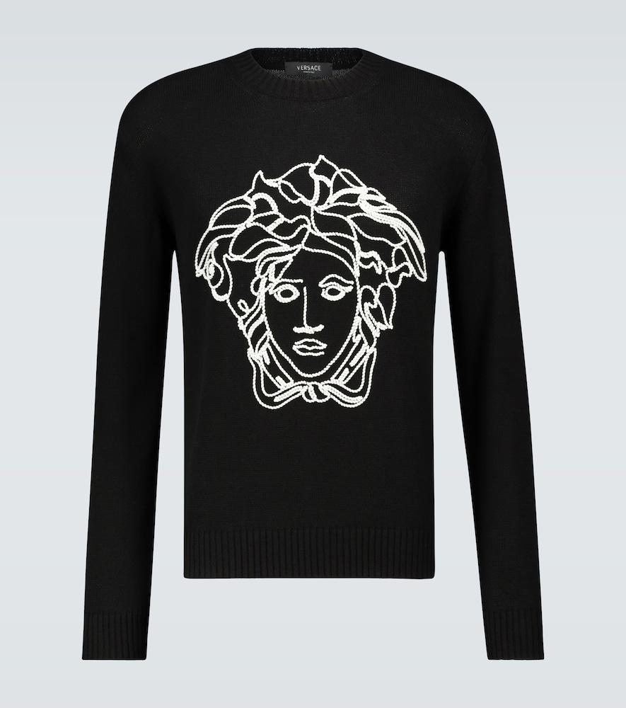 Pull en maille à logo - Versace - Modalova