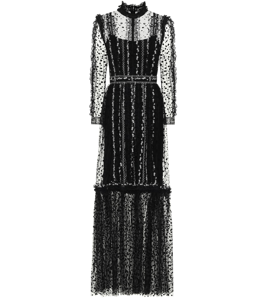 Costarellos ANICE DOTTED TULLE DRESS