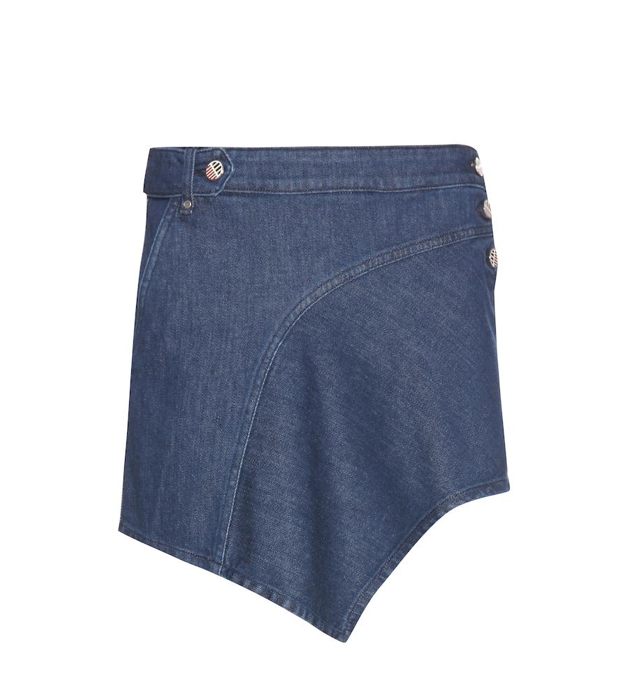 Asymmetric denim miniskirt