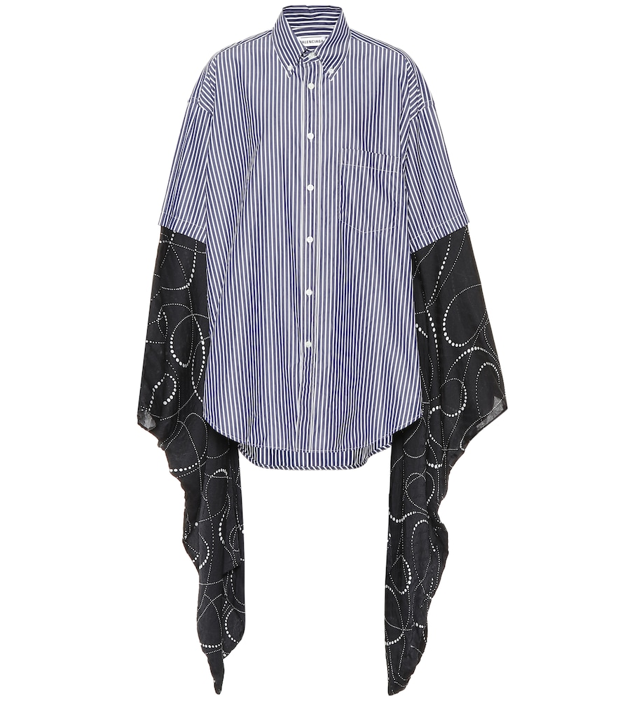 Oversized Striped Cotton-Poplin And Printed Silk-Georgette Shirt, Navy/ White