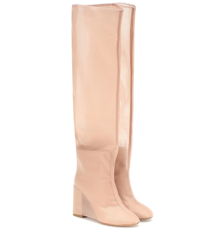 Mm6 Maison Margiela Leather And Mesh Knee-High Boots In Pink