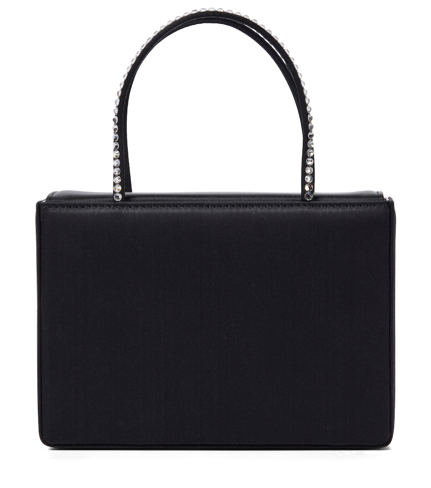 Amina Muaddi Gilda Embellished Satin Tote In Black