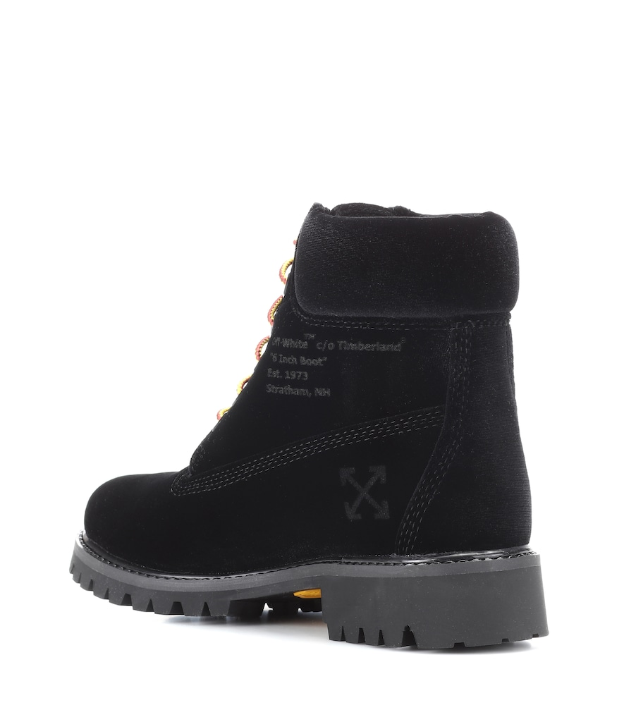 Off-white X Timberland Velvet Ankle Boots