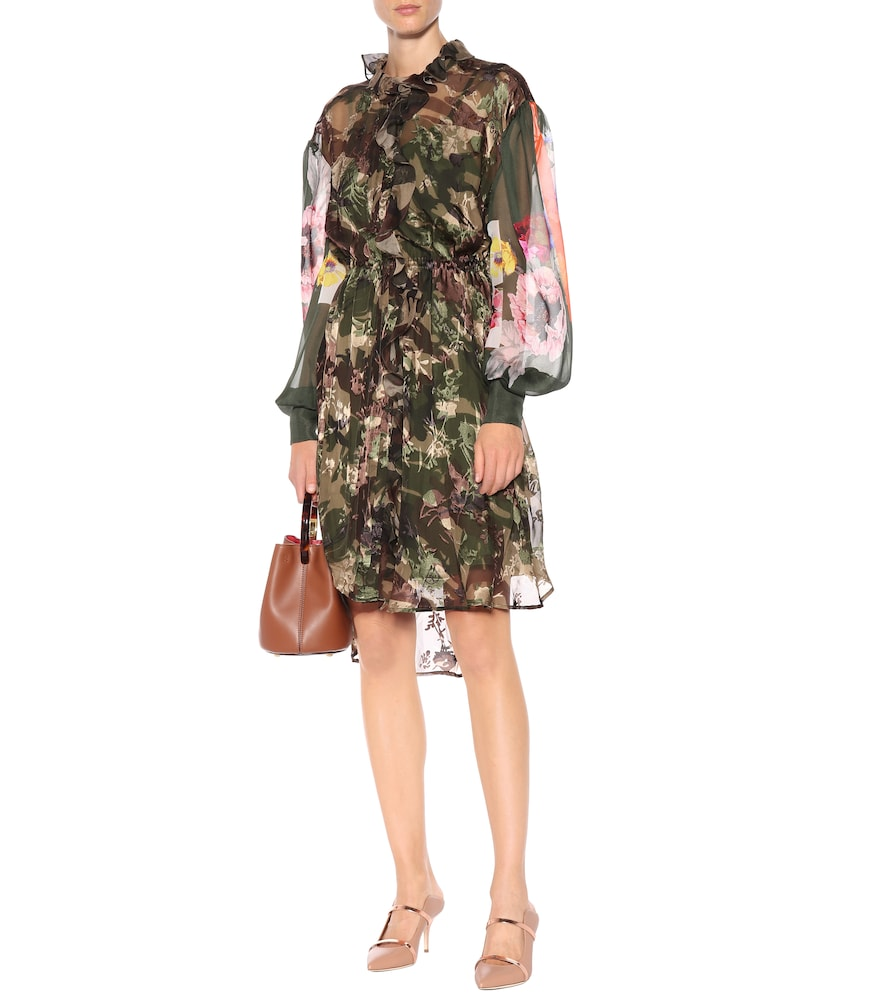 Octavia silk-blend camouflage dress by Preen by Thornton Bregazzi
