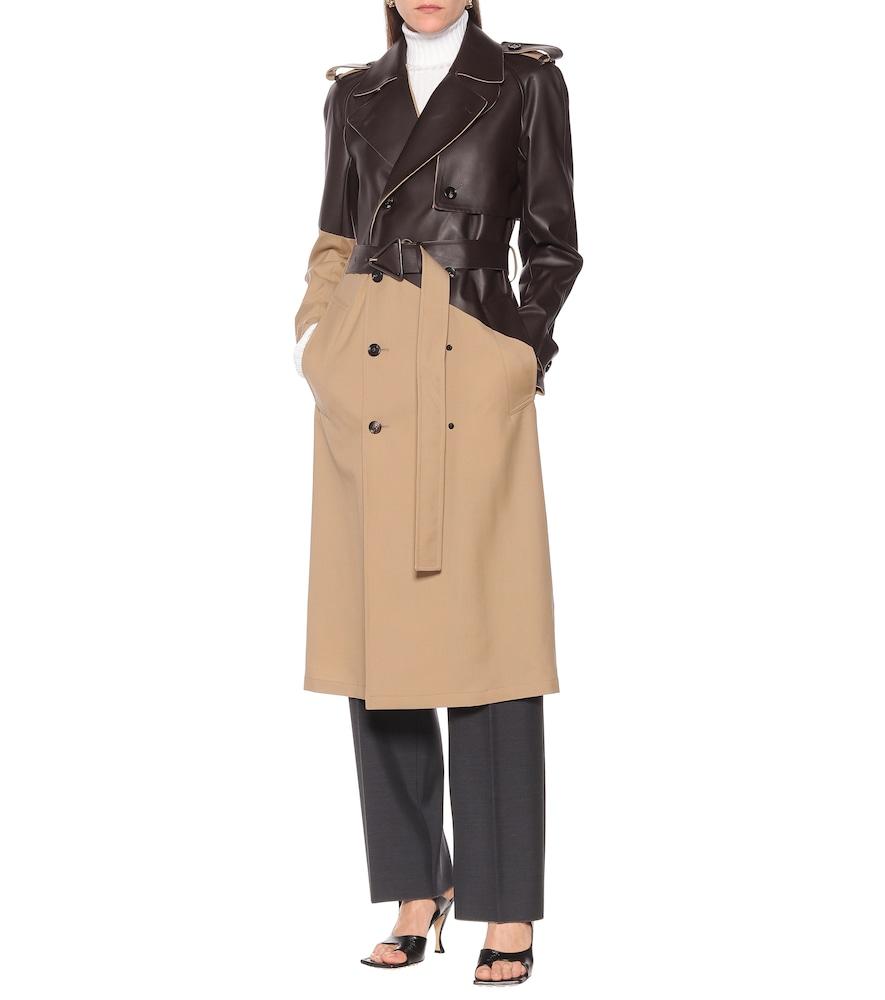 Leather and wool-gabardine trench coat by Bottega Veneta