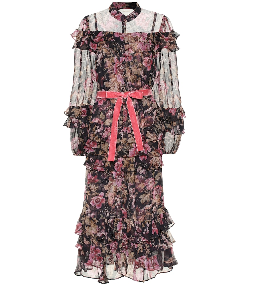 Lucky frilled floral silk midi dress by Zimmermann