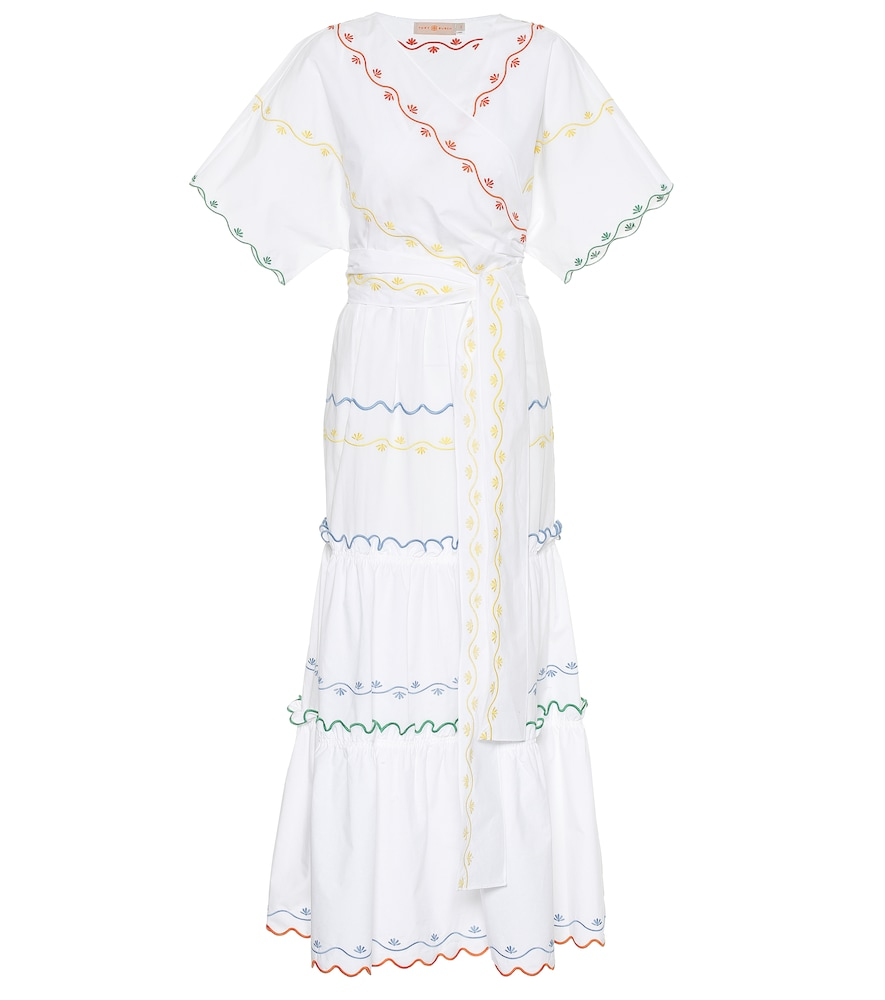 Embroidered cotton wrap dress by Tory Burch