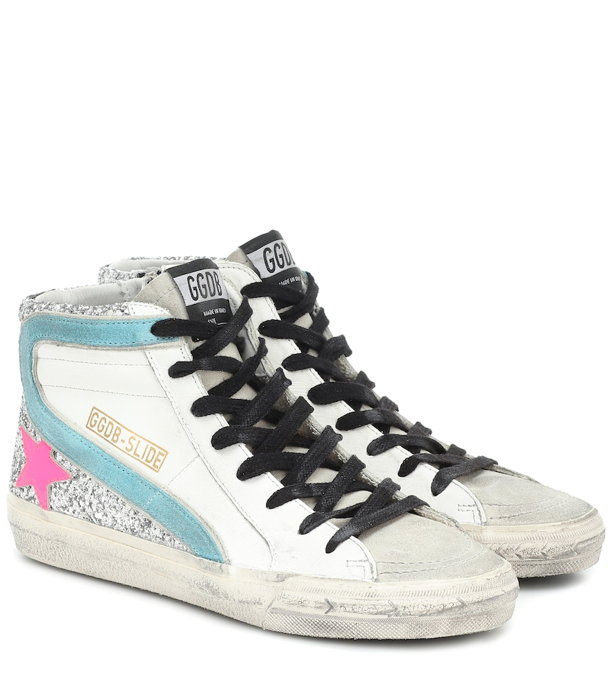 Slide leather sneakers