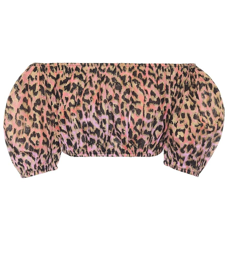 Leopard-print cotton crop top